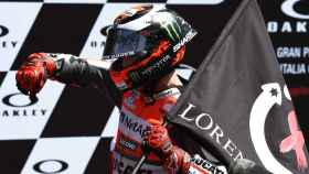 Jorge Lorenzo celebra su victoria en Mugello.