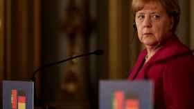 Angela Merkel, durante el encuentro con el primer ministro de Porgual