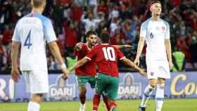 Belhanda celebra el gol de la victoria de Marruecos.