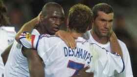 Thuram, Deschamps y Zidane con Francia. Foto fff.fr