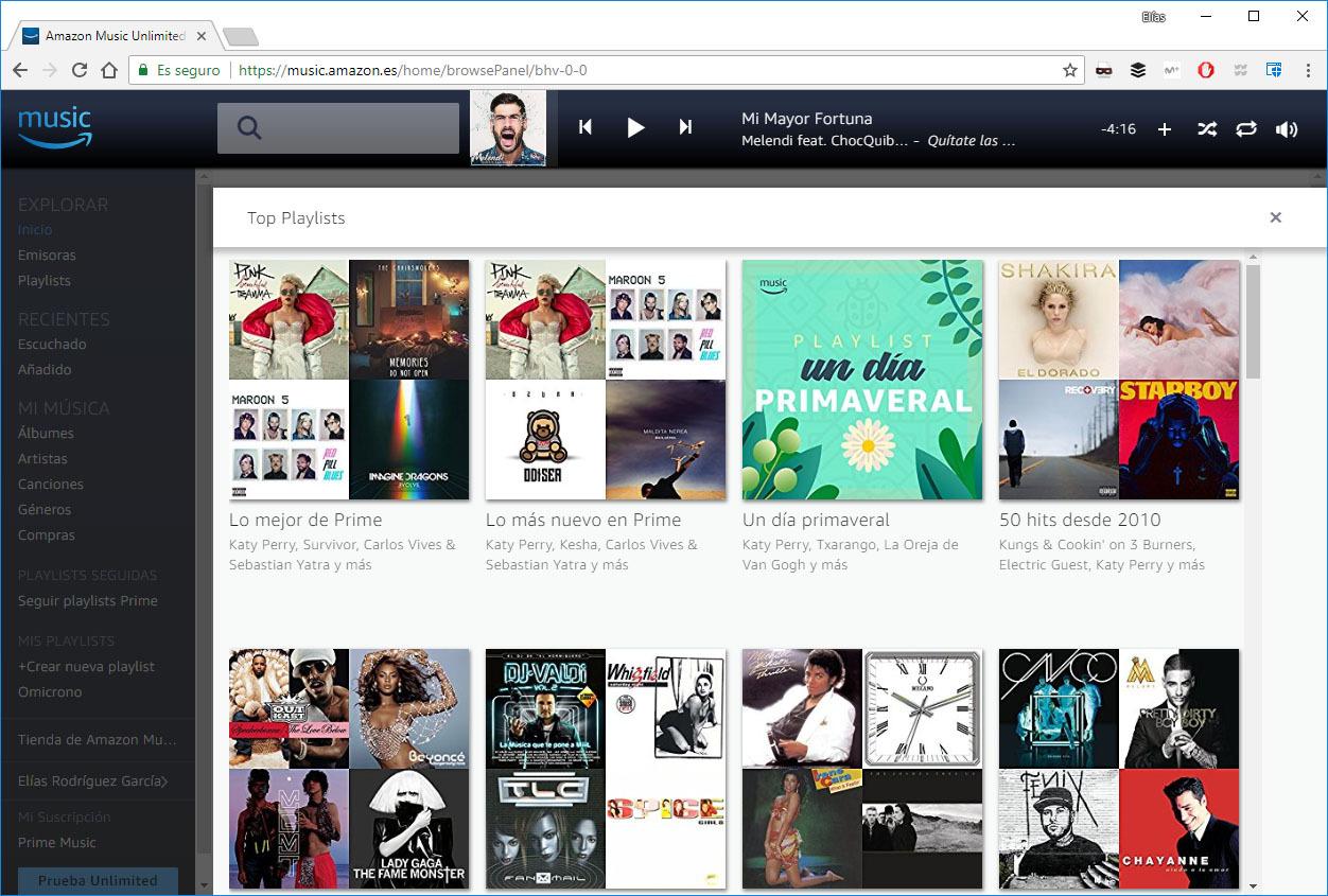 amazon prime music straming musica amazon listas de reproduccion