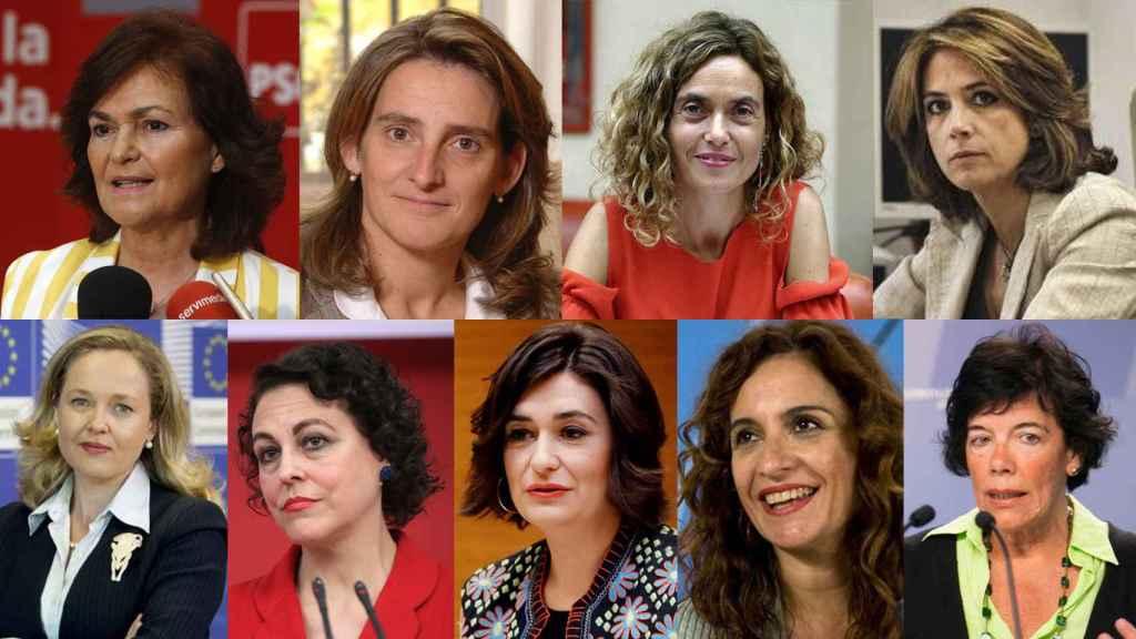 Carmen Calvo, Teresa Ribera, Meritxell Batet, Dolores Delgado, Nadia Calviño, Magdalena Valerio, Carmen Montón, María Jesús Montero e Isabel Celáa.