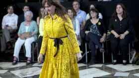 La nueva consellera de Cultura, Laura Borràs, emocionada tras prometer su cargo.