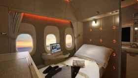 Una suite en un Boeing 777 de Emirates equipada con ventanillas virtuales.