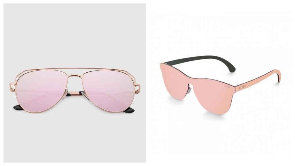 Gafas de sol rosas en un montaje.