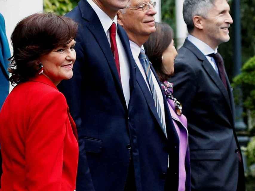 Sánchez, este viernes en la foto de familia de su primer 'Consejo de Ministras'.