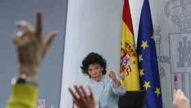 Isabel Celaá, durante su primera rueda de prensa como portavoz, este viernes en Moncloa.