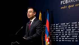 Rueda de prensa de Bartomeu. Foto: Twitter (@FCBarcelona).