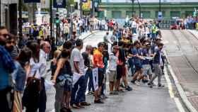 Cadena humana en la calle Navarra de Bilbao