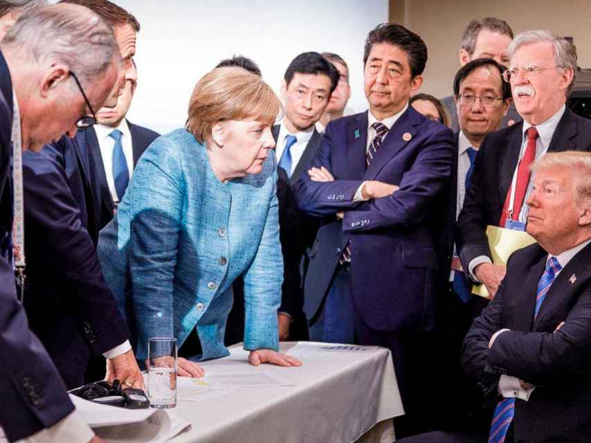 Angela Merkel y Donald Trump, durante una reunión del G-7 en junio de 2018