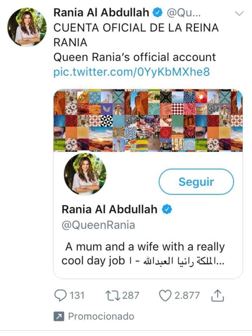 Imagen de la promoción en Twitter de Rania de Jordania.