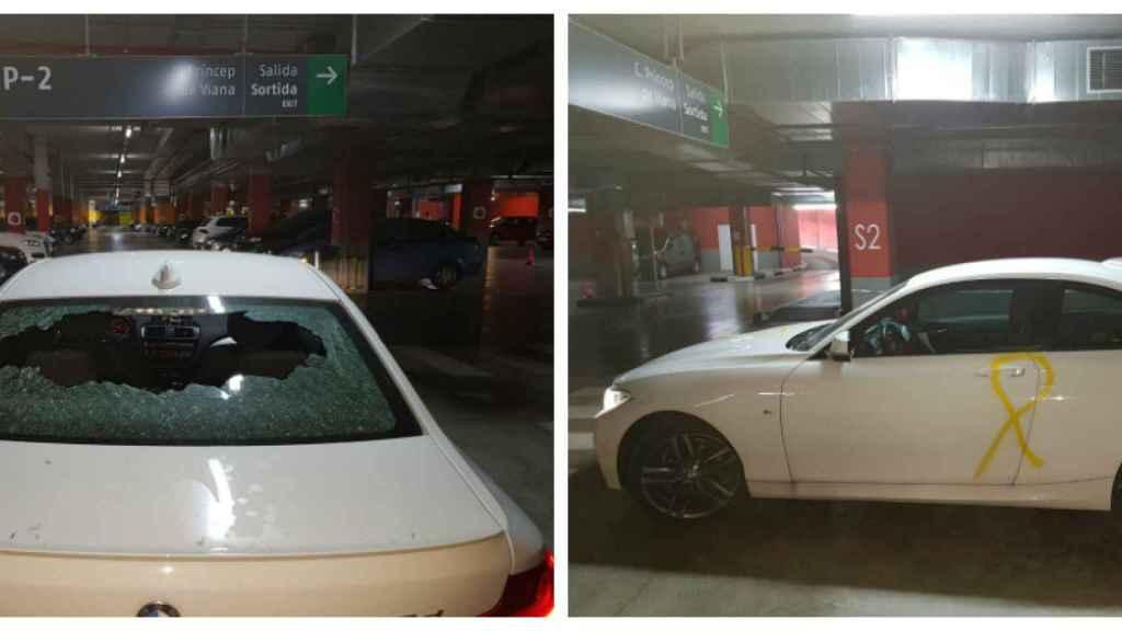 Coche de un agente de policía atacado en un parking de La Seu d'Urgell