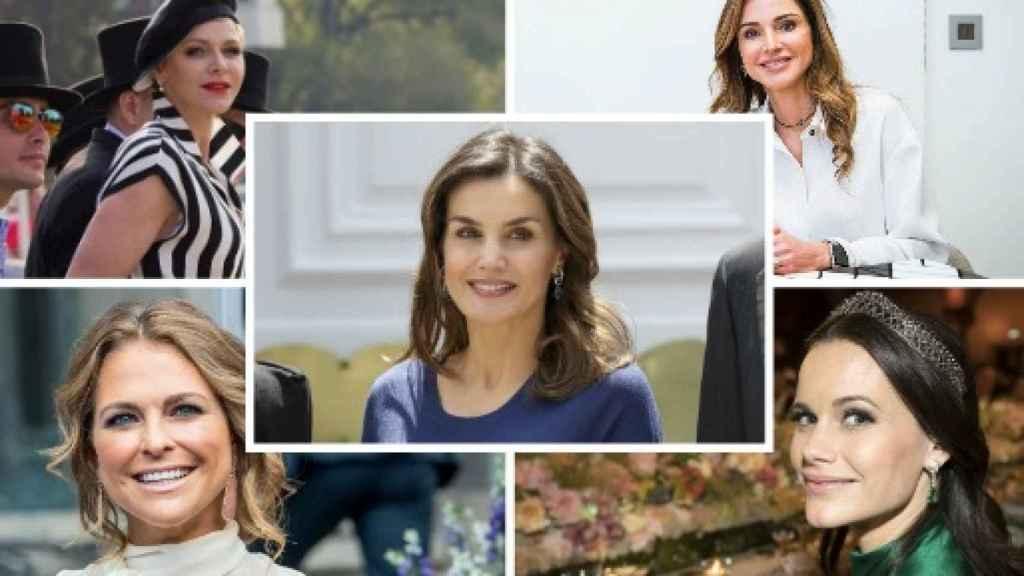 Rania de Jordania, Magdalena y Sofía de Suecia, Charlene de Mónaca y Letizia en un fotomontaje.
