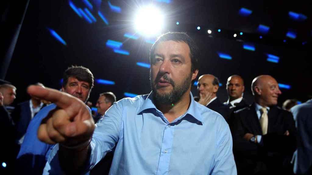 Salvini en un mitin en Roma