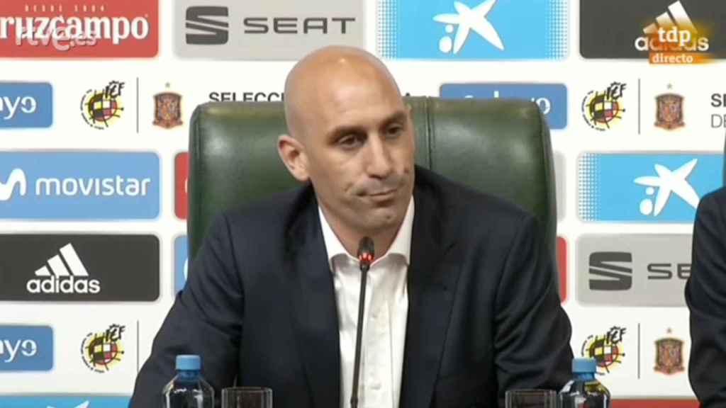 Luis Rubiales durante su comparecencia ante los medios en Krasnodar.