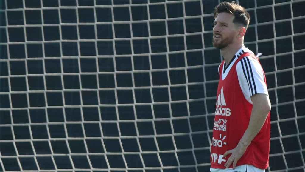 Leo Messi, en un entrenamiento de la selección de Argentina.