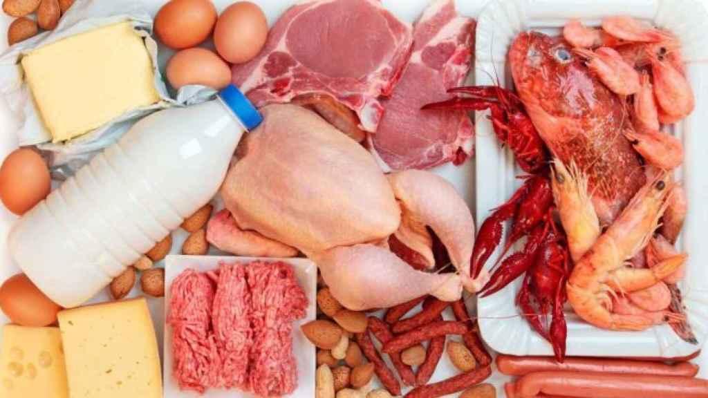 La carne, el queso o la leche son alimentos ricos en proteínas.