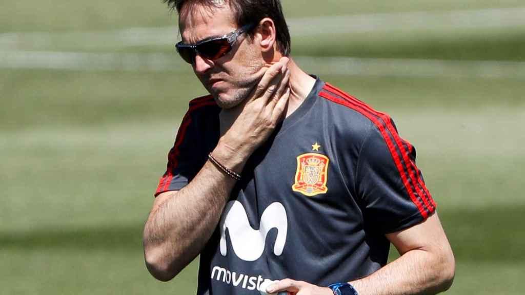 Julen Lopetegui en uno de sus últimos entrenamientos con España.