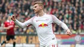 Timo Werner celebrando un gol con el Leipzig. Foto: Twitter (@DieRotenBullen).