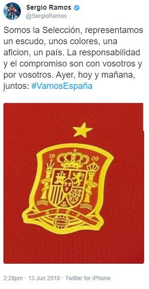 El primer mensaje de Ramos tras la destitución de Lopetegui