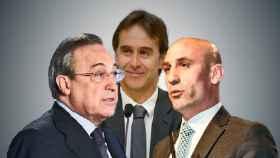 Florentino Pérez, Julen Lopetegui y Luis Rubiales
