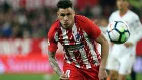 Giménez durante un partido con el Atlético de Madrid. Foto atleticodemadrid.com