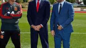Lopetegui, Felipe VI y Huerta en la despedida de la selección de fútbol antes de viajar a Rusia.