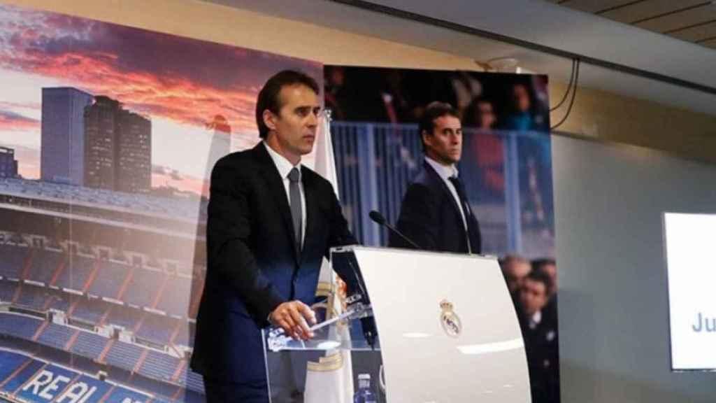 Julen Lopetegui, durante su presentación en el Santiago Bernabéu