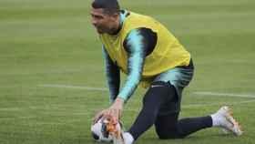 Cristiano, en el entrenamiento con Portugal. Foto: Twitter   (@selecaoportugal)