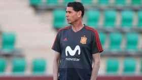 Hierro durante el entrenamiento de España. Foto: Facebook (@Sefutbol).