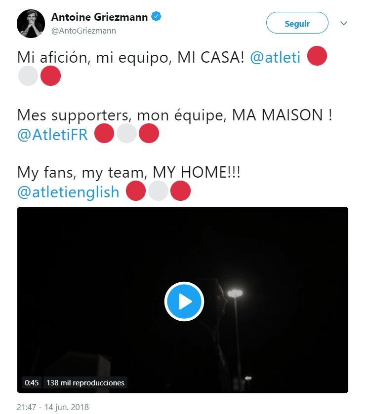 Griezmann anuncia que sigue en el Atlético