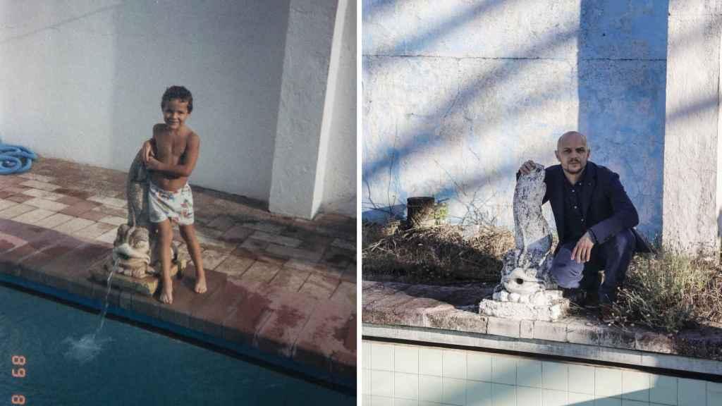 a la izquierda, Francisco, de pequeño, en la piscina de la casa de su por entonces padrino, el doctor Muñoz Cariñanos. En la derecha, en el mismo lugar en la actualidad. Fotos CEDIDA - Fernando Ruso