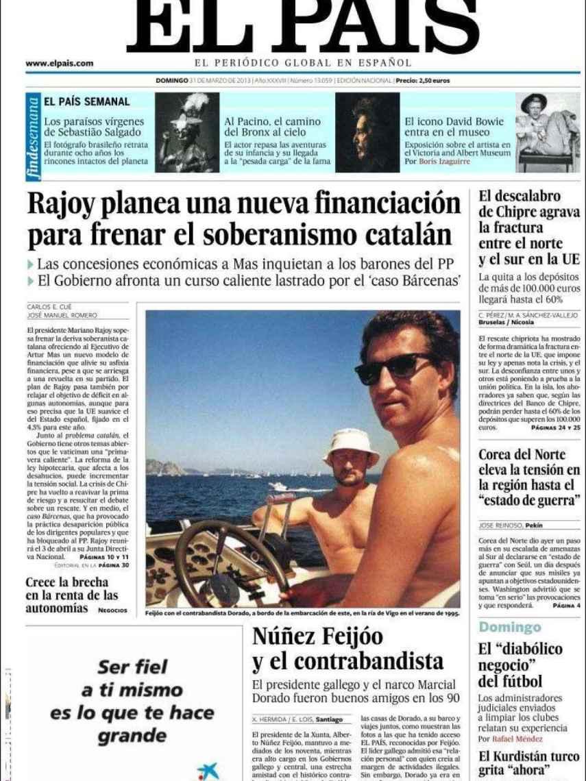 Portada de El País el 31 de marzo de 2013.