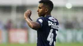 Rodrygo celebra un gol con el Santos. Foto santos.com.br