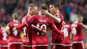 Erisen celebra un gol con Dinamarca. Foto: dbu.dk