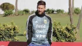 Messi, con Argentina. Foto: afa.com.ar
