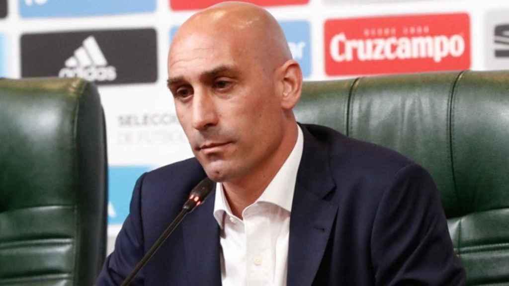 Rubiales, en rueda de prensa. Foto sefutbol.com