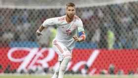 Sergio Ramos durante el partido contra Portugal. Foto: Twitter (@SeFutbol)