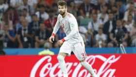 Gerard Piqué, en el partido de debut del Mundial. Foto: sefutbol.com
