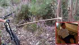 Una de las trampas en los montes gallegos y Diego, que quedó parapléjico tras impactar con una piedra oculta para dañar a los ciclistas.