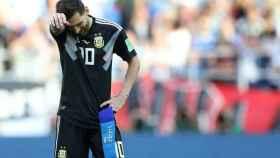 Messi al finalizar el partido contra Islandia.