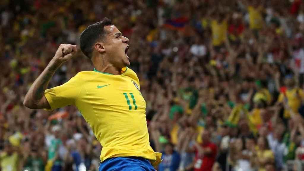 Coutinho, en la celebración de su gol.