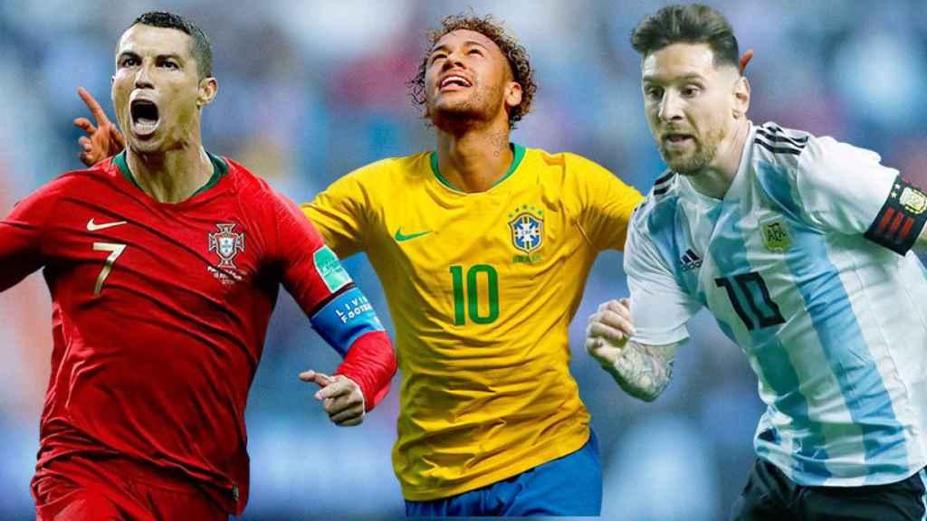 Cristiano Ronaldo, Neymar y Leo Messi