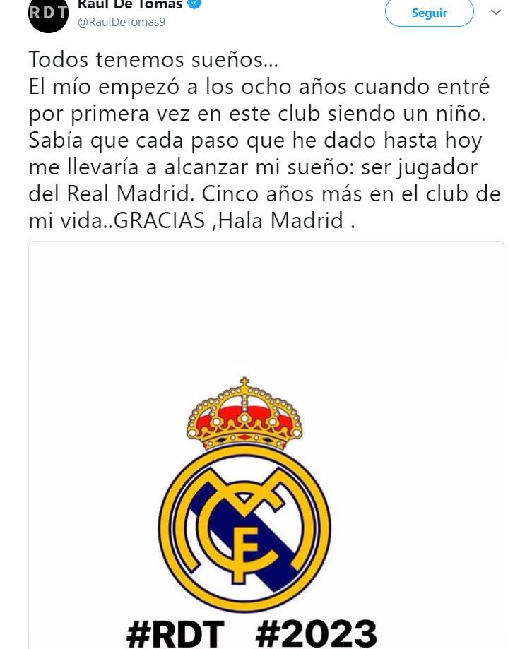 Raúl de Tomás renueva con el Madrid