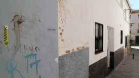 La pared manchada de sangre de la víctima
