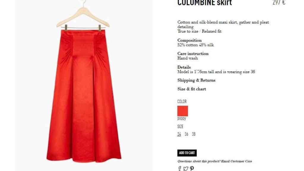Captura de la compra online  de la falda.