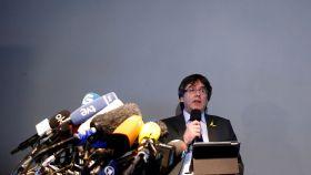 Carles Puigdemont, en una rueda de prensa en Berlín.