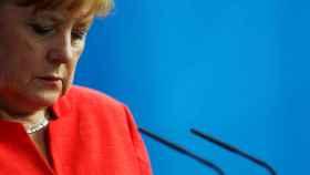 Merkel en una intervención en la cancillería en Berlín