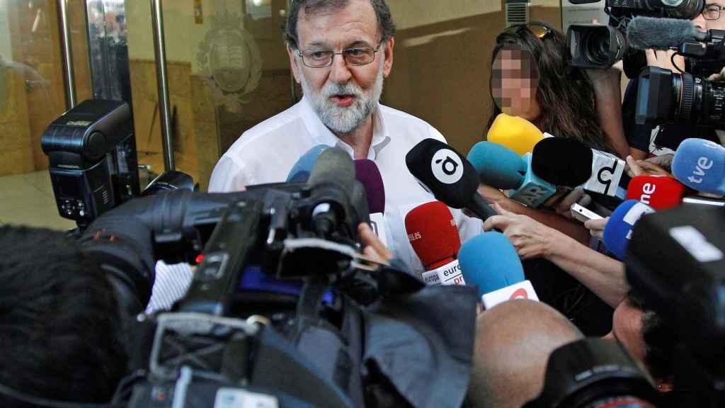 Rajoy a su llegada para incorporarse a su plaza como registrador de la propiedad.