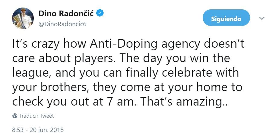 Dino Radoncic denuncia el control antidpoing tras ganar la ACB